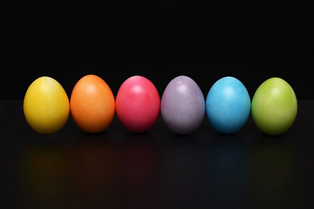 line of Easter eggs